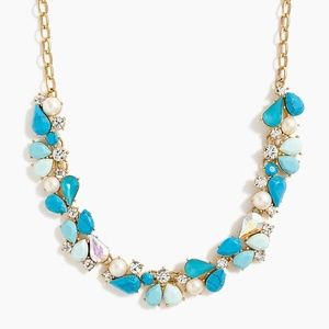 J. Crew Blue Fresh Crystals Statement Necklace NWT